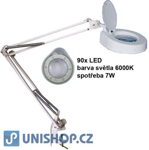 Stolní lupa s osvětlením LED,5 dioptrií,se svorkou