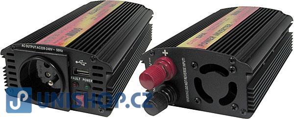 Měnič 12V/230V+USB 500W,modifikovaná sinus,CARSPA