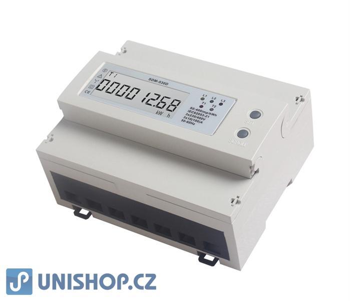 Elektroměr 3F na DIN lištu třífázový 530D, digitální