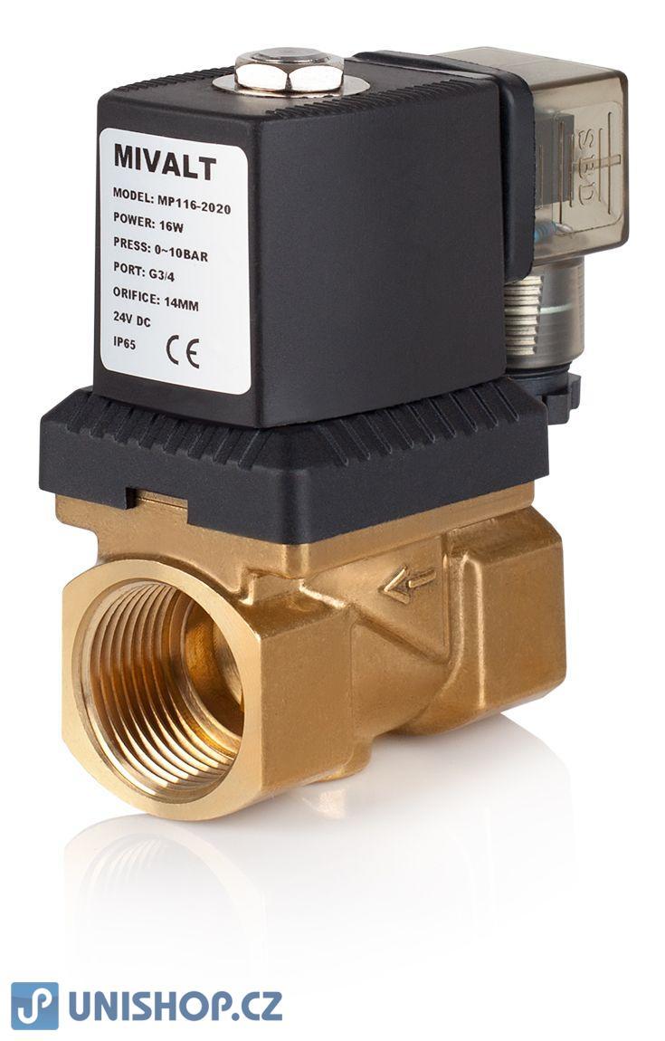"Elektromagnetický ventil MP 116-2020, NC, 3/4"", 24V DC, mosaz (0,2 -10bar)"