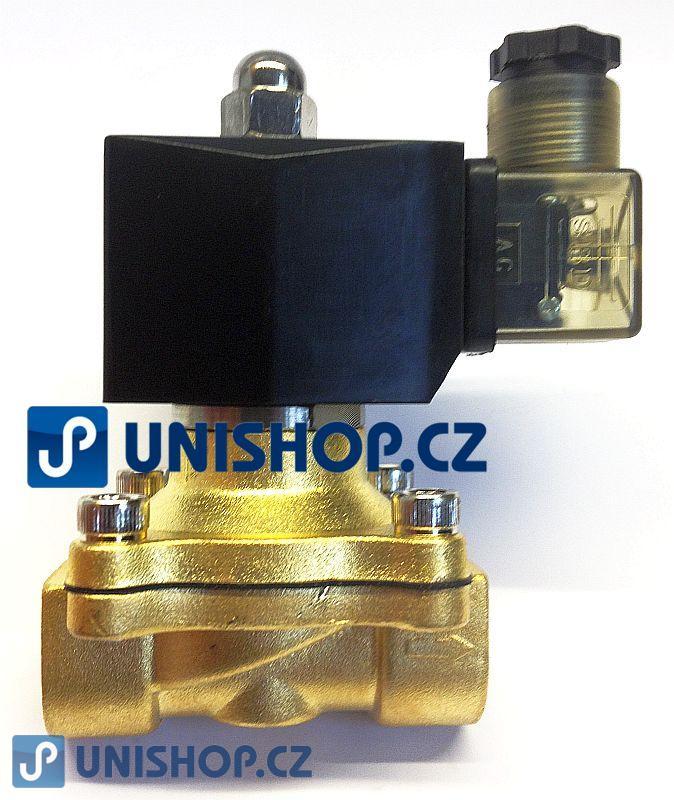 """Ventil MP-W160-15V, NC, 1/2"""", 12V DC, dvoucestný mosazný, (0-10bar)"""
